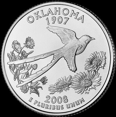 """2008 D Oklahoma State Quarter New U.S. Mint """"Brilliant Uncirculated"""" Coin"""