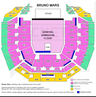 Bruno Mars 2×A Reserve Seating tix
