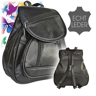 NEU Bag Street Damen Leder Rucksack Bodybag Tasche City Rucksack klein schwarz