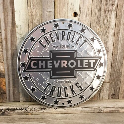 "Chevrolet Chevy Truck Embossed Diamond Plated Metal Tin Sign 12"" Garage New"