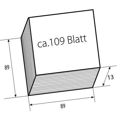 6 Zettelklotz Nachfüllung weiß, 9x9x9cm,  insges. ca. 650 Blatt