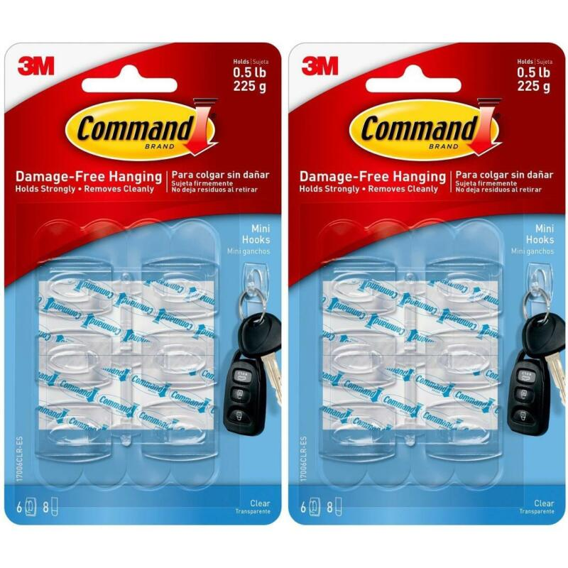 12 x 3M Command General Adhesive Mini Hooks/Strips - Damage Free Hanging - Clear
