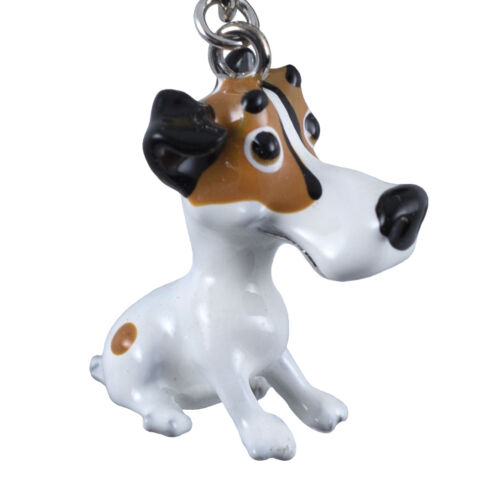 Little Paws Jack Russell Dog Key Ring With Charms and Trolley Coin New!