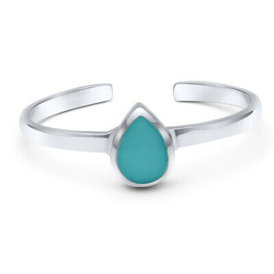 Solid Sterling Silver Toe Ring with Turquoise Pear Cabachon