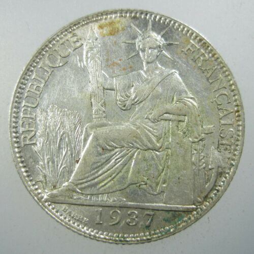 FRENCH INDOCHINA 20 CENTS 1937 SILVER LAOS CAMBODIA VIETNAM SHARP 66# COIN
