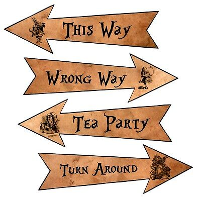 Party Arrows Alice in Wonderland party decoration set 4 grunge new larger size](Alice In Wonderland Party Decorations)