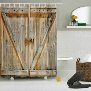 72 Rustic Wooden Barn Door Fabric Shower Curtain Set Waterproof Bathroom US