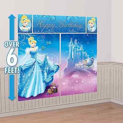 Disney Princess Cinderella Scene Setter Wall Decoration Kit Birthday Party Decor - Disney Princess Party Decor