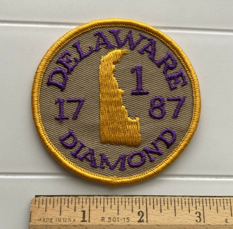 Vintage Delaware The Diamond State 1st US State 1787 Round Embroidered Patch