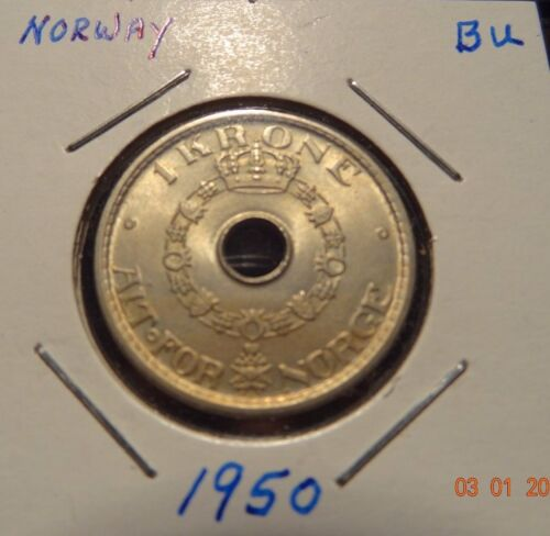 1950 Norway One Krone - Norwegian Coins
