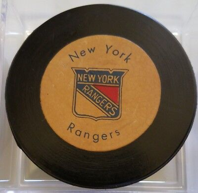 Vintage 1970's New York Rangers Hockey Puck Rawlings Canada Official AGED logo s