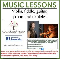 MUSIC LESSONS (violin,fiddle,guitar,piano and ukulele)