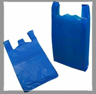 "1000pk Blue Vest Carrier Bags | LARGE HD BLUE TOPAZ 11"" x 17"" x 21 Size"