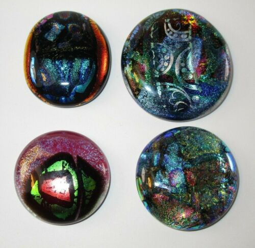 4 HAND MADE BEAUTIFUL FUSED DICHROIC GLASS CABOCHONS