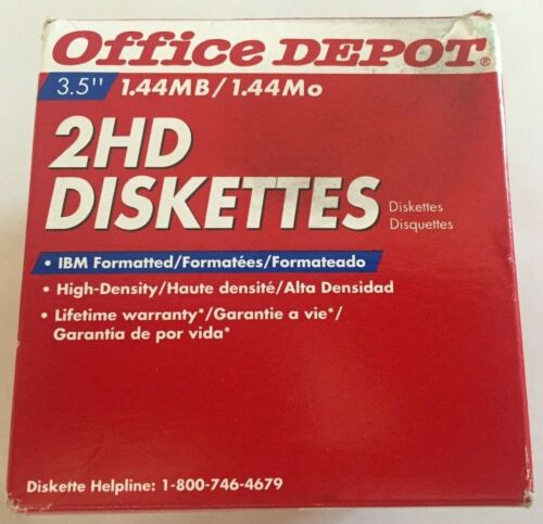 """Floppy Diskettes 3.5"""" 1.44MB High DensitY 2HD 25 New Office Depot  FREE SHIPPING"""