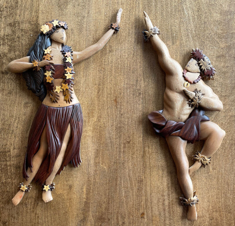 2 Wood Art Wall Carvings by Le Family Hawaii Island Wood Collection