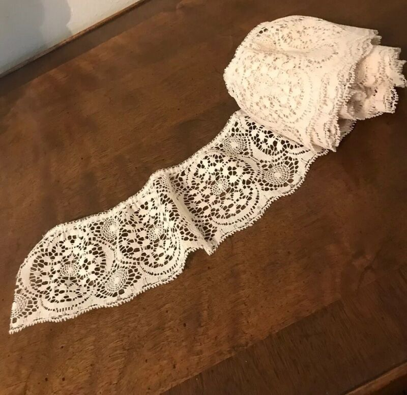 """Lot Vintage Crocheted Floral Lace Trim 3.5"""" Wide, 4 Yds Yards Ivory / Off White"""