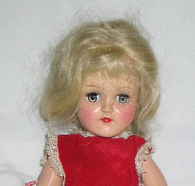 "Vintage 1950's Ideal Toni P20 14"" Doll Blonde Hair Blue Sleep Eyes Good Coloring"