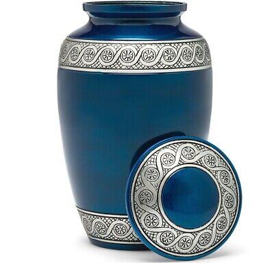 Cremation Urn for Human Ashes   Funeral Urn for Adults Remains Velvet Bag - Blue