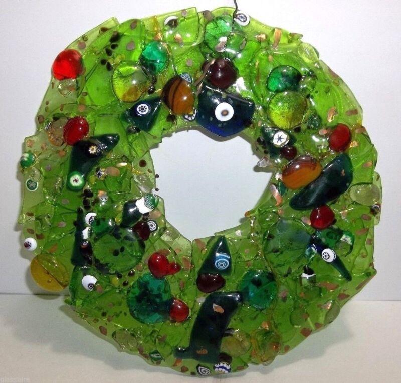 "Vintage Art Glass Suncatcher WREATH MILLEFIORI Green RED Blue GOLD 9"""