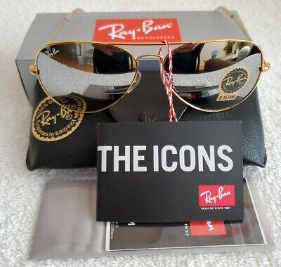 Ray-Ban Aviator Gold Metal Frame/Dark Mirrored Non-polarized Sunglasses NEW!