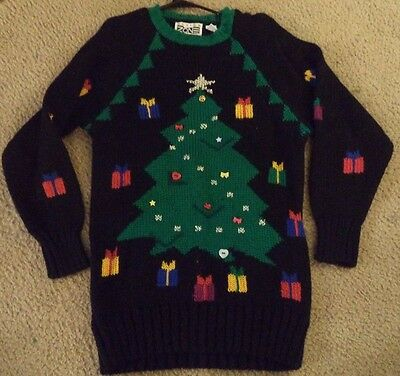 Vintage Womens UGLY CHRISTMAS SWEATER Tunic Medium Prize Winner - Ugly Sweater Prizes
