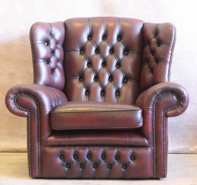 Wingback Chesterfield burgundy leather armchair ...