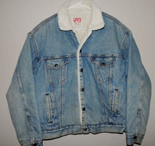 Vtg MENS LARGE LEVIS STRAUSS #70609-0214 SHERPA LINED INSULATED Denim JACKET USA