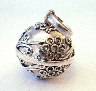 16mm Sterling Silver Flower Ornate Harmony Ball Pendant Musical Chime Jingle H59