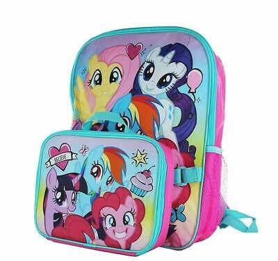 ddac0257abf My Little Pony School Backpack Lunch Box Set rainbow Girls Pink Cute Book  Bag