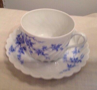 Haviland Limoges Fancy Scalloped Blue Flower Floral Tea Cup And Saucer