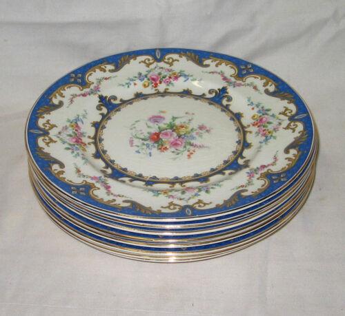 "(8) Blue Myott Staffordshire England Sevres 8 3/4"" Luncheon Salad Plates"