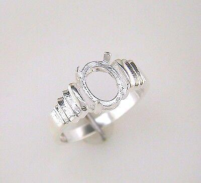Tri-Slash Oval Cabochon Ring Setting Sterling Silver