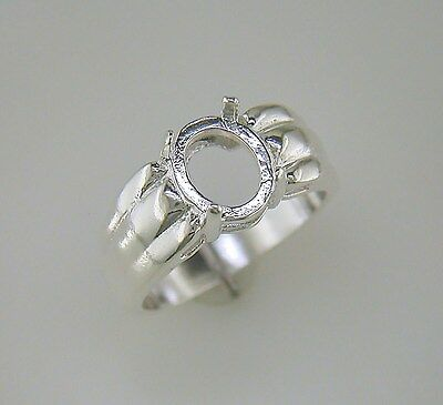 Tri-Ribbed Oval Cabochon Ring Setting Sterling Silver