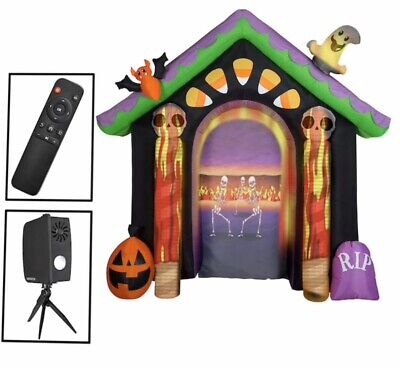 8.6' Haunted House Living Projection Halloween Airblown Inflatable Candy Corn