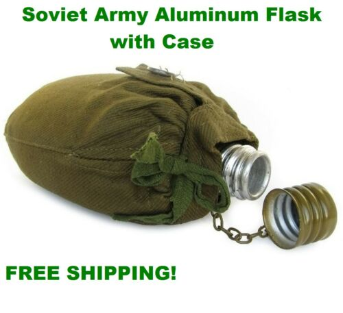 Soviet Army Aluminum Flask with Case Original WWII Water Bottle Soldier Canteen