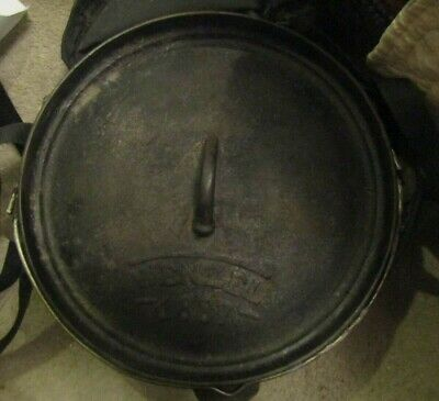 WENZEL 1887 CAST IRON DUTCH OVEN W/ LID TRIVET & LIFTER IN CARRYING BAG ZIPPER (Dutch Oven Lid Lifter)
