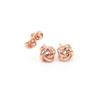 Knot Stud Earrings Rose Gold Small Infinity Love Symbol Post