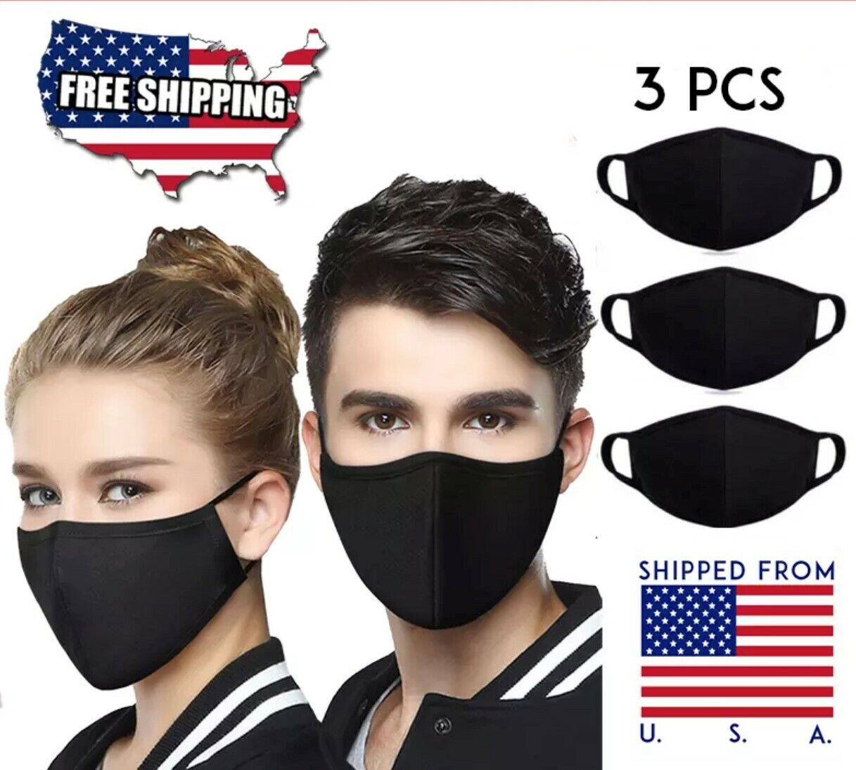 3PCS high quality Washable breathable Reusable Face Mask Protector Made in USA Accessories