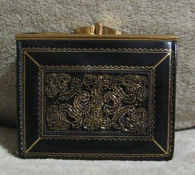 1940s Handbags and Purses History Vintage 1940s-1950s DANIEL DE PARIS PURSE Black Leather Coin Purse Wallet $49.99 AT vintagedancer.com