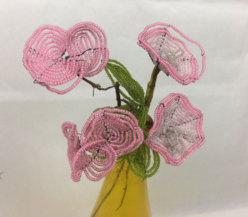 2 Vintage handmade French Seed Beaded Flowers Pink & White Poppies Green Leaves