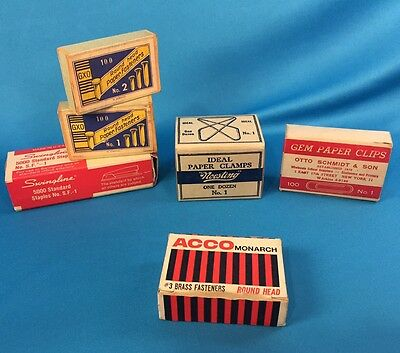 Lot Of Vintage Office Supplies Noesting Ideal Paper Clips Swingline Staples