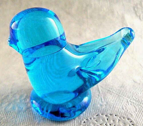 Vintage Blue Glass Bird Figurine Signed (B10)
