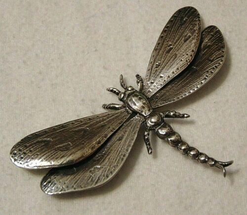 Vintage Guglielmo CINI Sterling Silver DRAGONFLY Brooch Pin Black Starr Gorham