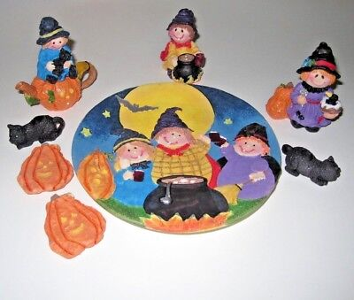 8 Piece Halloween decorative tea set Pumpkins/Black Cats/Potion/Happy Witch NEW