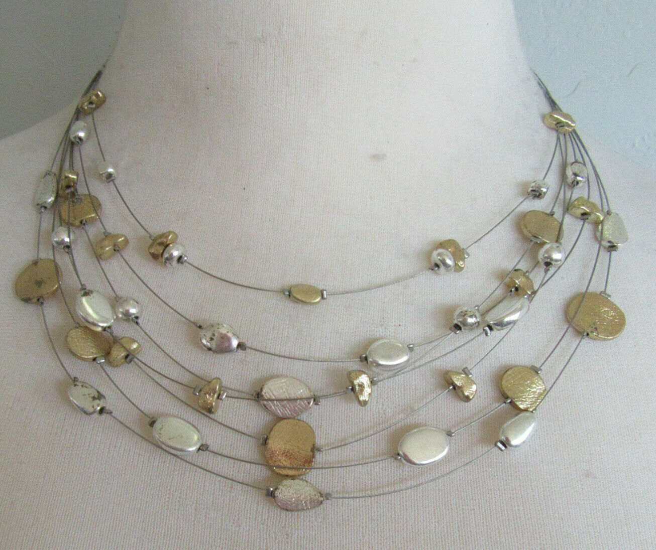 Lia Sophia Jewelry Skipping Stones Necklace In Silver And Gold RV 68 - $6.49