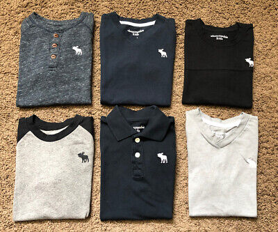 Boys Abercrombie Kids T-shirts Huge Lot Size 5/6 Polo Shirt Solid Navy A&F Gray