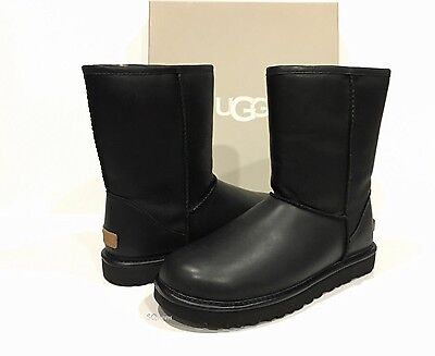 UGG 1015606 CLASSIC SHORT CASHMERE WOMENS BOOTS BLACK LEATHER CASHMERE WOOL US 9