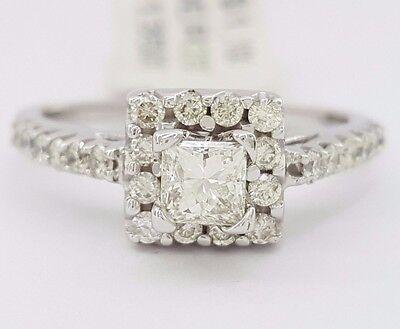 0.86 ct 14K White Gold Princess Cut Diamond Halo Engagement Ring 3.4 Grams