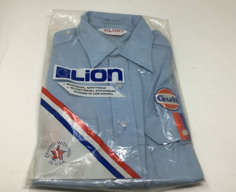 NOS  GULF OIL Gas Station Company EMPLOYEE WORK SHIRT & PATCH SZ MED